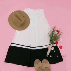 Đầm suông sát nách phối trắng đen