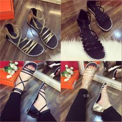 Giày sandal chiến binh nhiều dây ánh kim - màu: đen, vàng ánh kim