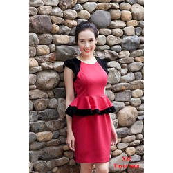Đầm Công Sở Peplum Phối Màu