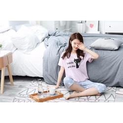 Bộ mặc nhà xuất Hàn- Mèo chấm bi xanh