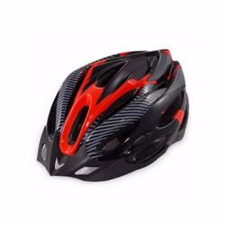 Mũ bảo hiểm xe đạp thể thao Vân Carbon - Đen đỏ