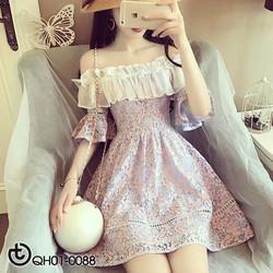 Đầm xòe ren hoa trễ vai - hàng nhập Quảng Châu cao cấp