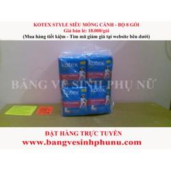 Băng vệ sinh Kotex Siêu mỏng cánh 8 miếng - Bộ 8 gói