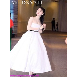 Đầm xòe dài dự tiệc cúp ngực phối viền eo xinh xắn DXV311
