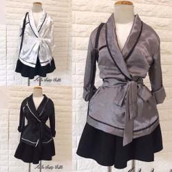 Set váy xoè áo vest cột eo Set short