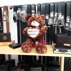 Gấu Teddy ôm tim nhồi bông màu nâu size 40cm