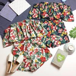 Set áo trễ vai và Quần hoa