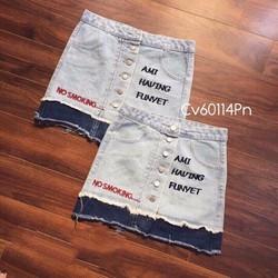 Chân váy jeans in chữ cực xinh luôn nè số lượng ít nha