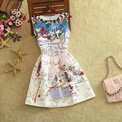 Đầm xòe gấm họa tiết cao cấp hàng nhập