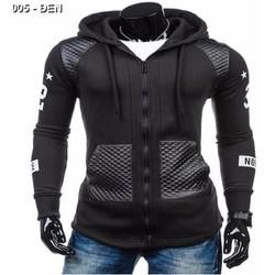 áo khoác hoodie phối da Mã: NK1005 - ĐEN