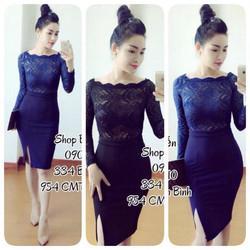 Đầm mặc đi tiệc body ren bẹt vai tay dài phối váy body xẻ tà DA435