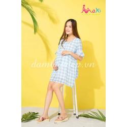 Váy bầu mùa hè - Váy caro xanh trắng Xanh