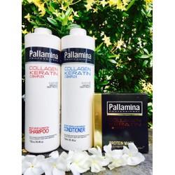 Trọn bộ gội, xả, hấp dầu Pallamina 500ml chăm sóc tóc tại nhà
