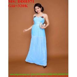 Đầm maxi 2 dây đính hoa hồng xinh đẹp dễ thương DDH571