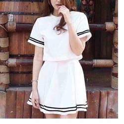 Set áo và chân váy thủy thủ trắng cao cấp