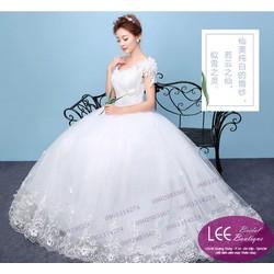 Áo cưới 2 vai phồng đính hoa - T170504