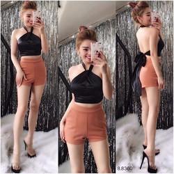 Set áo cổ yếm + quần short