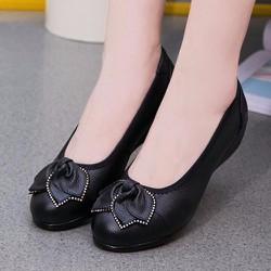 Giày búp bê nữ da nơ hình lá - LN1237
