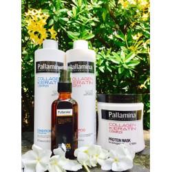 Trọn bộ gội,xả,hấp dầu,tinh dầu PALLAMINA 500ml chăm sóc tóc toàn diện