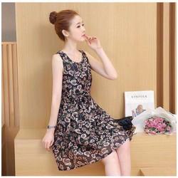 HOT MỚI VỀ - Đầm xoè in hoa 3D nhẹ nhàng kiểu Hàn Quốc V3272