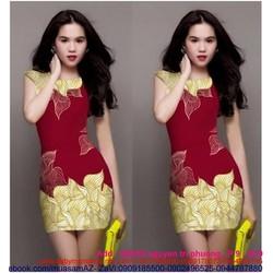 Đầm ôm body hoa dễ thương như Ngọc Trinh DOT30
