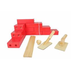 Bộ đồ chơi gạch xây dựng bằng gỗ kích thước 14 x 7 x 3,5 cm