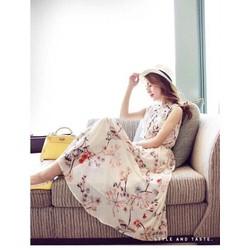 Đầm maxi hoa đào nhúng eo siêu xinh