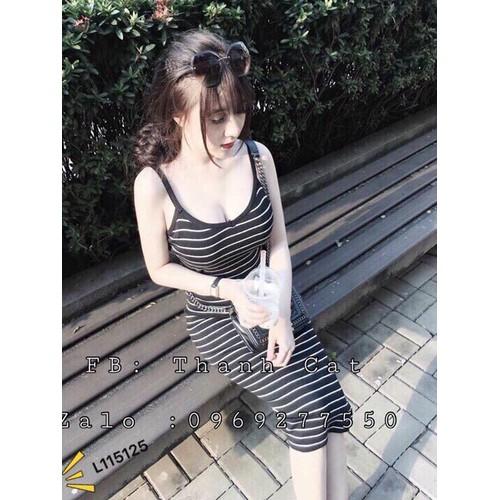 Đầm body len sọc ngang