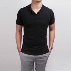 Áo thun phông nam màu đen có cổ ngắn tay cao cấp giá rẻ