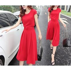 Hàng nhâp bộ đồ công sở thời trang quần giả váy Màu đỏ