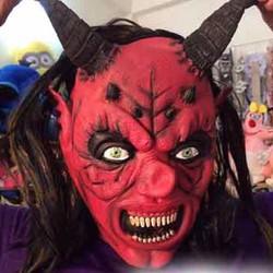 Mặt nạ da quỷ đỏ sừng dài