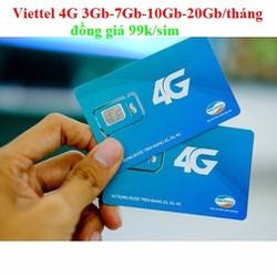 SIM 4G VIETTEL 3GB-7GB-10Gb-20GB ĐỒNG GIÁ 99K