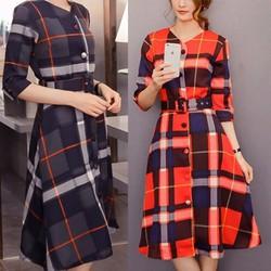 Đầm suông caro phong cách âu châu cá tính mạnh mẽ-151