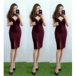 Đầm thun body xẻ tà