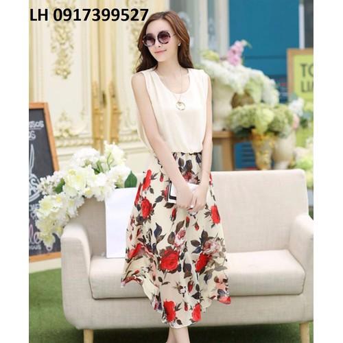 Đầm maxi đẹp VINTAGE hoạ tiết L121515
