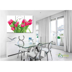 Tranh đồng hồ Hoa tulip đỏ