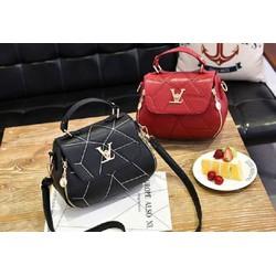 Túi xách thời trang khóa sườn - Màu đen, đỏ