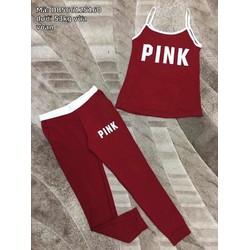 Set bộ quần dài áo 2 dây Pink