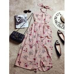 Đầm Maxi voan hoa yếm