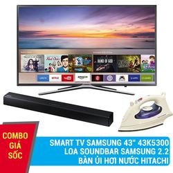 Combo SmartTV Samsung 43K5500+Loa Samsung+Bàn ủi hơi nước Hitachi