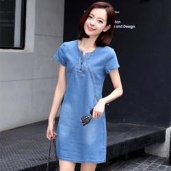 Hàng Nhập Đầm jean suông Hàn Quốc mới Slim cao bồi váy nữ 2017
