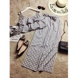 Set áo croptop quần lưng cao