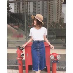 Chân váy jean dài nút giữa