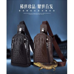 Túi Đeo Chéo Nam Da Cá Sấu Hàng Chuẩn - Quảng Châu