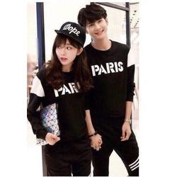 Áo thun đôi tay dài màu đen Paris cá tính cực style