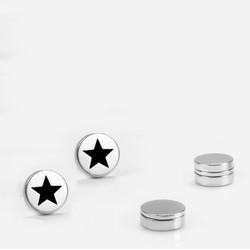 Bộ 2 bông tai nam châm hình ngôi sao 8mm BNC02 Màu bạc  WinWinShop88
