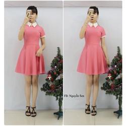 Đầm hồng xòe phối viền trắng VD329