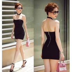 Đầm ống đen ngắn ôm body Ngọc Trinh thiết kế đơn giản