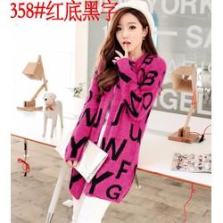 áo len dáng dài chữ cái Mã: AO3015 - HỒNG