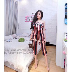 Jumpsuit sọc cup ngực